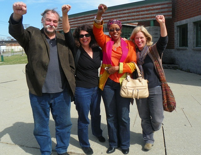 (L to r) Rev. Bill Wylie-Kellerman, and Elena Herrada, both arrested at City Council April 16, 2013, with supporters, after their release from the Northeast District Police station.. Councilwoman JoAnn Watson and several attorneys intervened to have them released on personal bond. Their misdemeanor charges will be heard Wed. May 1, 2013 at 36th District Court, 8:30 a.m. They pledged to continue the battle against the bankers' takeover of Detroit.