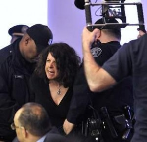 Police arrest Detroit school board member Elena Herrada. Photo courtesy Sam Riddle