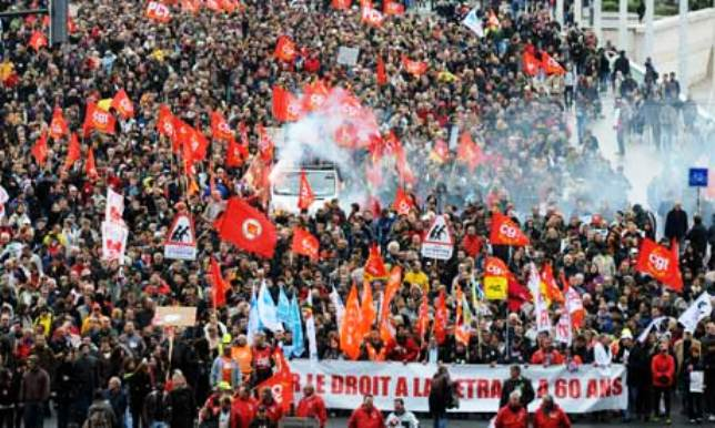 In 2010, French workers carried out a general strike and protests in the millions across the country to stop changes to their pension systems, which allowed workers to retire at 60. The government wanted to change the age to 62. They were victorious. Photo shows protest in Lyon.