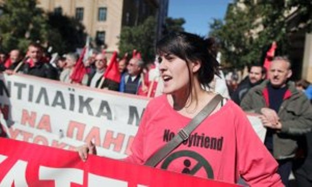 Youg woman in Feb. 20, 2013 protest in Greece.
