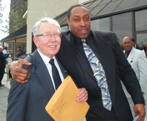 Jon Miller with fellow Local 312 member after funeral.