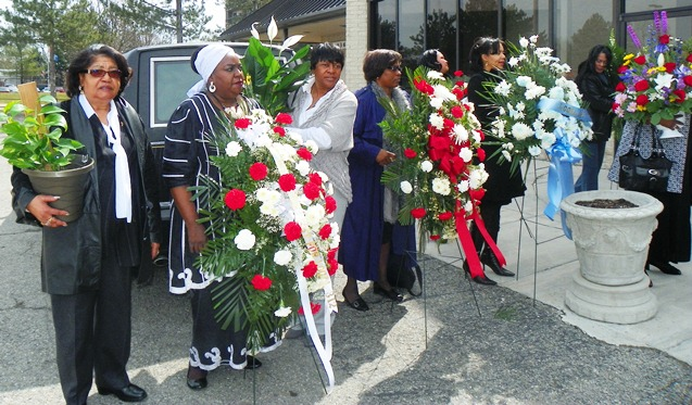 Flower bearers including (l to r), retired AFSCME Local Pres. Elmira Willis, Councilwoman JoAnn Watson, and AFSCME D-DOT Local 214 President June Nickelberry outside church. Councilwoman JoAnn Watson outside church.