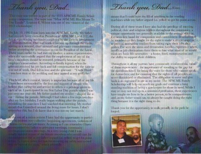 Leamon E. Wilson's tribute to his father and his union legacy, from funeral program.