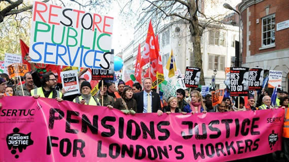 Protest in London against cuts in pensions and public services.