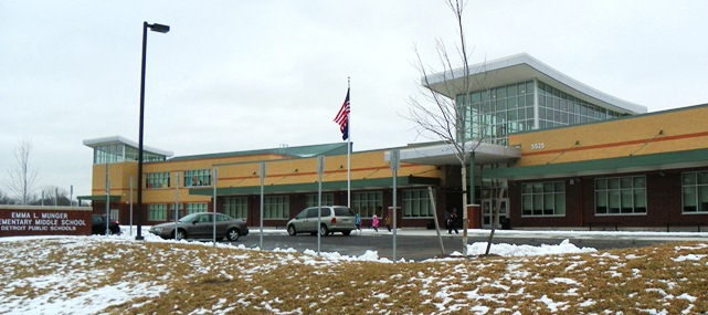 Munger High School, front, during meeting March 1, 2013. Walkways into school were also covered with ice and unsafe.