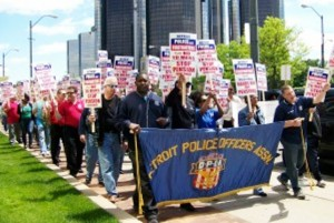 In Detroit in 2010, city workers including police and fire held large protest against Bing's attempt to take over their pensions systems.