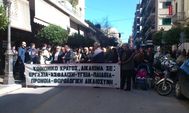 Police hold Greek farmers with vehicles back in protest in Patras, Greece Feb 20