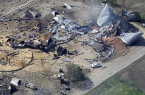 Texas fertilizer plant after explosion, which killed 14 people.