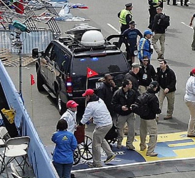 One of many photos alleged to be of black ops groups waiting at Boston Marathon finish line before explosion. This shows what Infowars says is the Craft Communications Van.