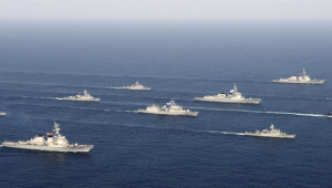 U.S. and South Korean navy vessels in war exercises off the coast of Korea, March 18, 2013.