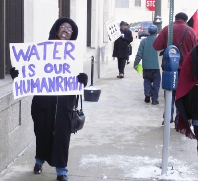 The late Mary Shumake protests with the Michigan Welfare Rights Coalition in Detroit.