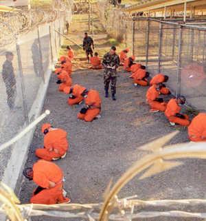 Prisoners inside Guantanamo.