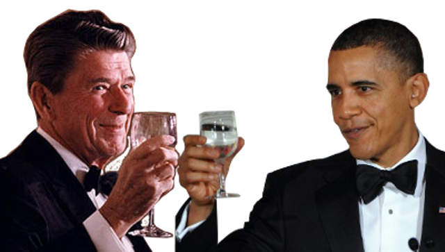 The late President Ronald Reagan and current U.S. President Barack Obama. Photo montage: courtesy of The Black Agenda Report