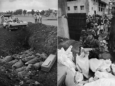 U.S. soldiers threw bodies of Panamanians, from the predominantly Black neighborhood which housed Gen. Noriega's headquarters, into mass graves.
