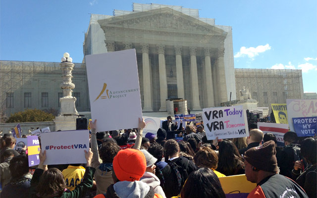 Supporters of the Voting Rights Act at U.S. Supreme Court during hearings on Shelby County v. Holder.