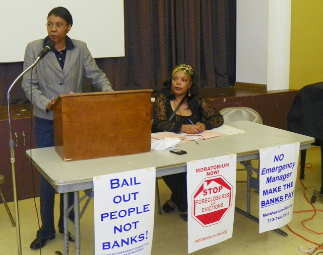 Attorney Vanessa Fluker and city retiree Andrea English both spoke at the rally.