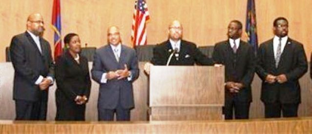Council Sell-out Six: (l to r) Cockrel Jr.,  Jenkins, Brown, Pugh, Spivey, Tate.