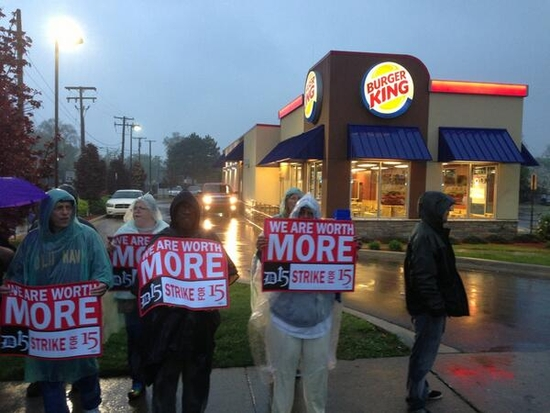 Workers walk out at Detroit Burger King May 10, 2013.