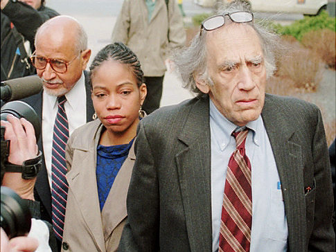 Attorney William Kunstler, right, escorts Qubilah Shabazz to the Minneapolis Federal Building Monday morning, May 1, 1995,  where a settlement was reached in the murder-for-hire case against Shabazz, a daughter of the late Malcolm X. Shabazz was scheduled to go on trial Monday on charges of plotting to kill  Nation of Islam leader Louis Farrakhan. At left is family attorney Percy Sutton. (AP Photo/Jim Mone)  The charges were later exposed as an FBI frame-up and Ms. Shabazz was acquitted.
