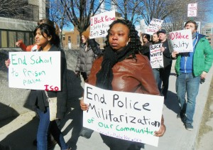 Rally for Justice for Aiyana held March 8, 2013. Aunt LaKrystal Sanders is at front right.