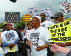 Rev. Edward Pinkney speaks to rally against EM and Whirlpool takeover of Benton Harbor, during protest against the PGA tournament May 26, 2012.
