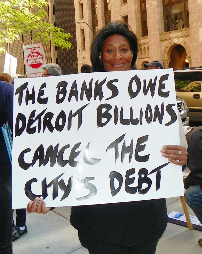 Protest against city's debt to banks May 9, 2012.