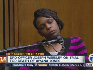 Aiyana's mother Dominika Stanley on stand at beginning of trial.