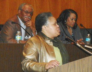 Monica Lewis-Patrick chaired rally against the appointment of Detroit EM Kevyn Orr in the Erma Henderson Auditorium March 6, 2013. Behind her are Mayoral candidates Tom Barrow and Krystal A. Crittendon.