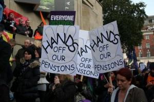 California retirees protest cuts.