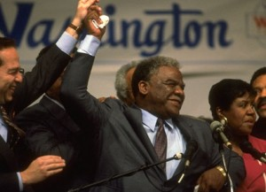 Chicago's first Black mayor, the late Harold Washington, declares victory.