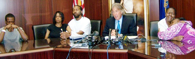Aiyana's family members during Fieger press conference May 18, 2010. L to r, Mark Robinson, Dominika Stanley, Charles Jones, Fieger, Mertilla Jones and LaKrystal Sanders.