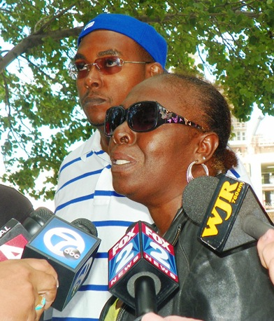 "Aiyana's grandmother Mertilla Jones speaks to media June 18. ""He's a lying cop,"" she said, referring to Weekley."