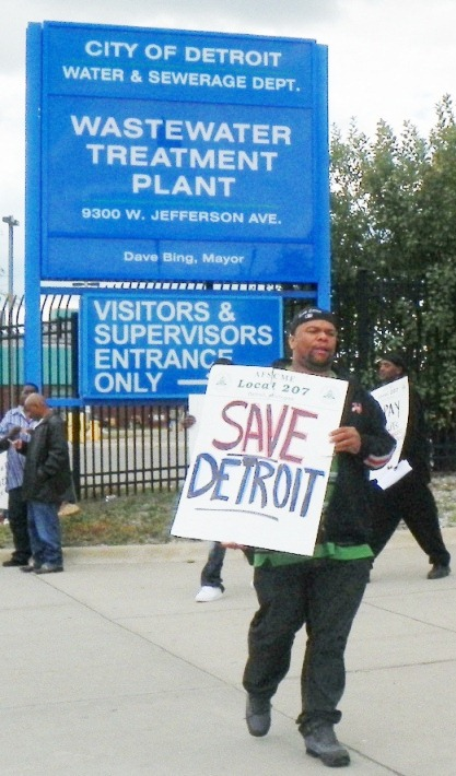 Workers at Detroit's sewage treatment plant struck in Sept. 2012 to make the bankers, not the workers, pay for Detroit debt crisis. DWSD debt results in part from predatory lending and swap deals.