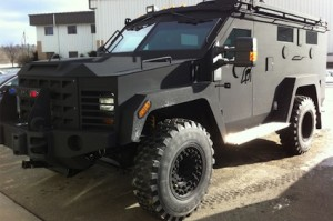 "Typical police armed vehicle known as ""Bearcat."""