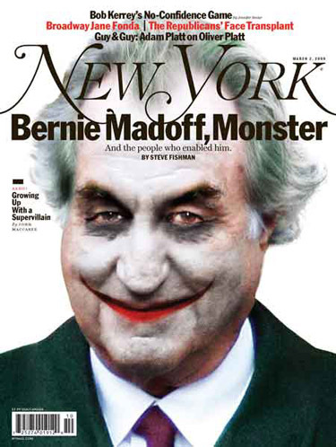 New York magazine cover: Bernie Madoff, Monster, and the People Who Enabled Him.