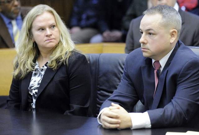 Allison Howard and killer cop Joseph Weekley at earlier court hearing.