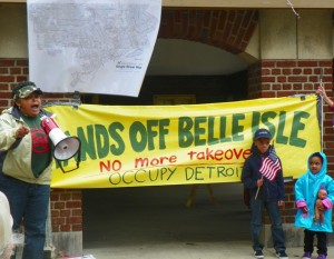 City Council candidate Monica Patrick speaks at rally to save Belle Isle from state control.