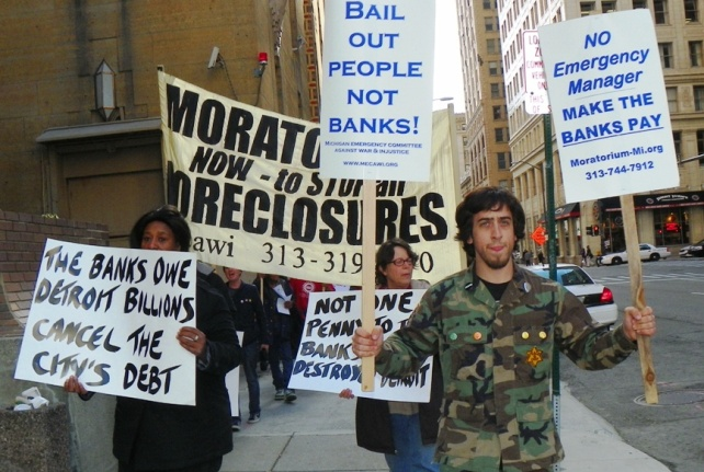 Moratorium NOW demands cancellation of Detrot debt to the banks May 9, 2012 after protesting at BOA.