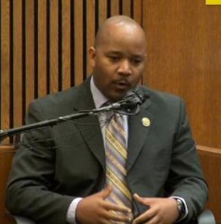 DPD Inspector Don Johnson testifies during Weekley's first trial.