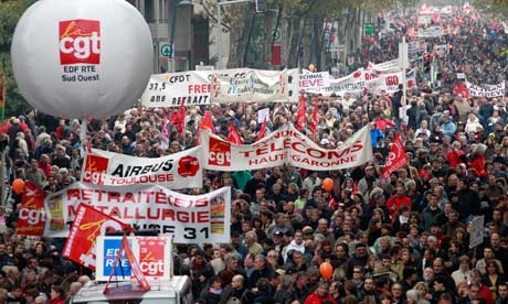 Mass protest in France against pension cuts.