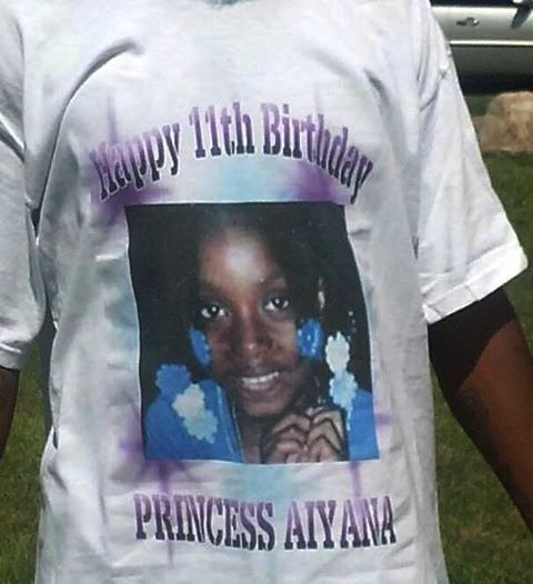 Close-up of Aiyana birthday T-shirt.