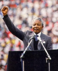 Nelson Mandela, leader of South Africa and the ANC.