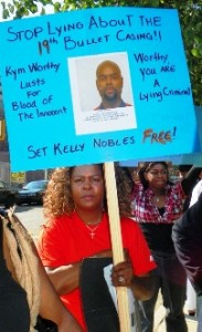 Marilyn Jordan demands freedom for her son Kelly Nobles during Task Force rally June 17, 2011.