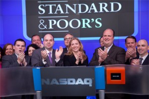 Standard and Poor's staff rings in Wall Street day.