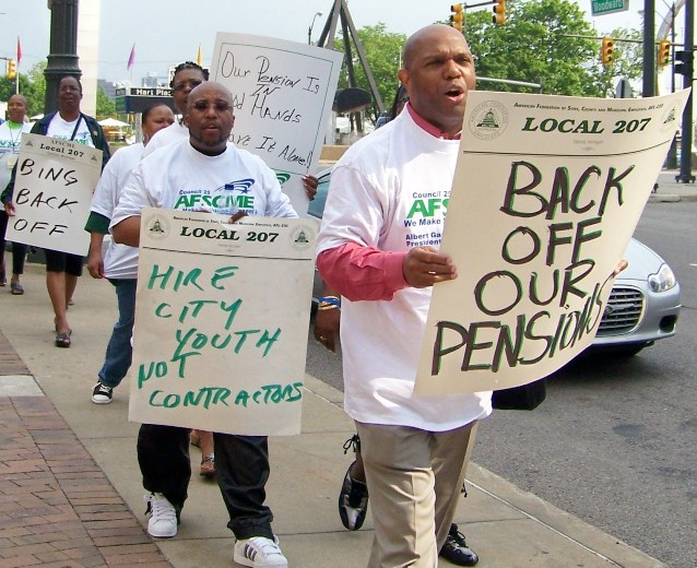 City workers protest Mayor Dave Bing's earlier move to take over pension systems.