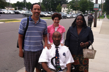 Baxter Jones and supporters outside courthouse Aug. 8, 2013. Photo