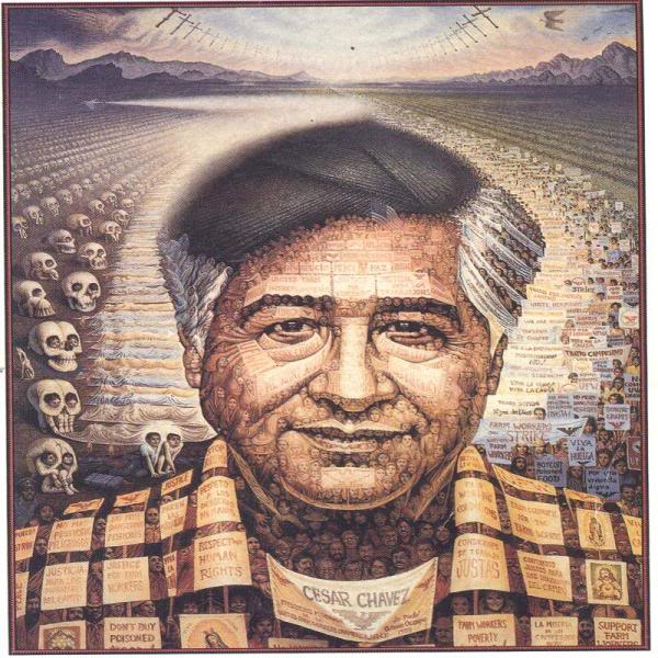 Painting of Cesar Chavez depicts farmworkers who have died due to barbarous working conditions.