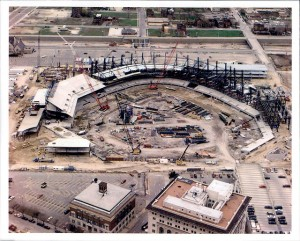 Comerica Park under construction. City of Detroit taxpayers anted up $40 million, along with state and county funds, to Mike Illtich to build the stadium.