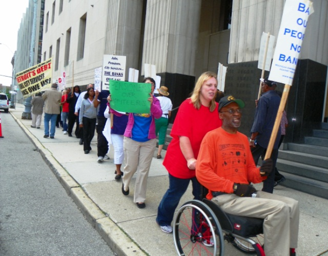 Protest outside federal courthouse during bankruptcy hearing Aug. 2, 2013