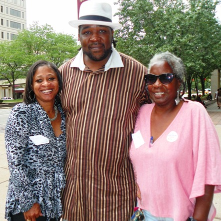 Davontae's mother Taminko Sanford-Tilmon, stepfather Jermaine Tilmon, and supporter Andrea West